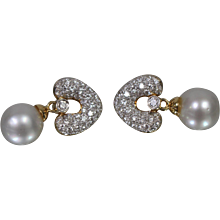 18K Yellow Gold South Sea Cultured Pearl & Diamond Earrings w/ Appraisal!