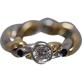 18k / Platinum - .89 CTW - Bezel Set Diamond & Sapphire Hand Made Custom Engagement Ring in Rich Yellow Gold and Platinum