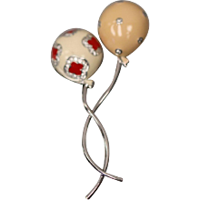 18KT Intertwined Balloon Brooch Pin in Enamel, Diamond, and White Gold