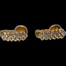 22KT Yellow Gold 1.50 CTW Contemporary Diamond Threaded Post J-Earrings