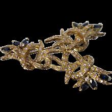 18KT Yellow Gold Contemporary Diamond & Brilliant Blue Sapphire Brooch/ Pendant