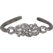 6.74 ctw - Circa 1920 European Abstract Link Bracelet Encrusted in Diamonds in Platinum