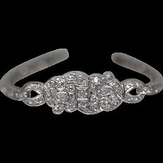 6.74 ctw - Circa 1920 European Abstract Link Bracelet Encrusted in Diamonds in Platinum
