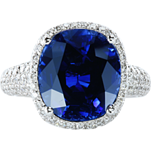 Certified 8.84 cts natural blue sapphire micro pave ring