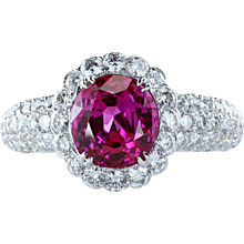 Cluster ring with oval 3.84 ct pink sapphire