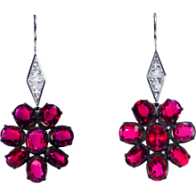 Ruby and French cut diamond earrings