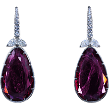 Rubellite and diamond earrings