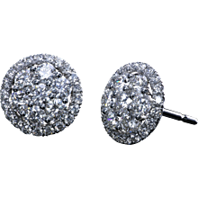 Platinum studs with round diamonds and micro pave