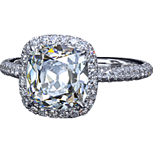 2.60 F/VS1 True Antique™ cushion diamond in micro pave halo