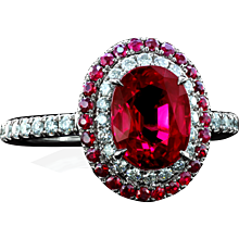 2.05 carat natural Burmese ruby in a Galaxy™ double halo ring by Leon Mege