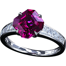 Certified 2.27ct natural pink sapphire in a diamond ring