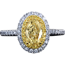 Galaxy™ yellow diamond halo ring