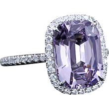 Diamond micro pave ring with Plum spinel