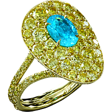 Brazilian Paraiba with yellow diamonds