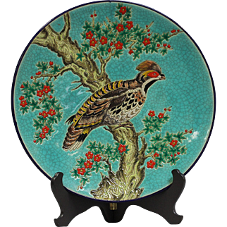 Middle 20th Century French Faience and Enamel Plate of LONGWY