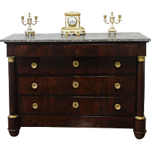 French mahogany Chest of drawers or Commode Empire period with columns