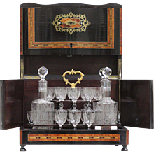 "19th Century French Napoleon III Complete Brass and Crystal ""Cave a Liqueur"" in Boulle Style"