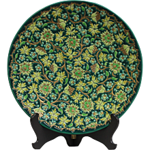 Middle 20th Century Faience and Enamel decorative plate of LONGWY