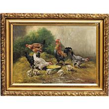 Rooster and hens by P. H. SCHOUTEN (Belgian, 1860-1922)