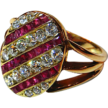 Tailored Diamond, Ruby & 18K Yellow Gold Ring