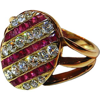 Tailored Diamond, Ruby & 18K Yellow Gold Ring