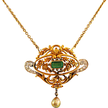 Antique Emerald, Pearl, Diamond & Gold Pendant