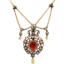 Victorian Fire Opal and Diamond Necklace