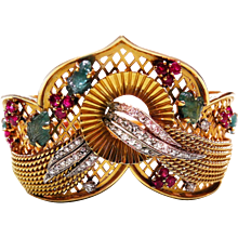 French Retro 18K Yellow Gold, Diamond, Emerald, Ruby, & Platinum Bangle Bracelet
