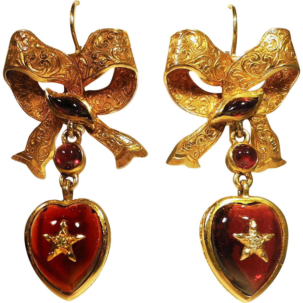 Victorian Garnet Amp Diamond Heart Amp Bow Earrings Jan