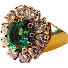 Tourmaline Diamond and 18K Gold Ring