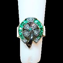 Oscar Heyman Bros. Emerald, Diamond, 18K Yellow Gold & Platinum Lucky Horseshoe & Four Leaf Clover Ring
