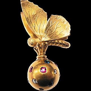 Victorian High Karat Gold Moth & Jewelled Ball Motif Pendant