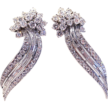 6.35ct Diamond & Platinum Comet Motif Earrings