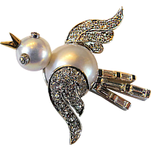 Early Seaman Schepps Diamond, Platinum, Gold & Pearl Bird Motif Brooch