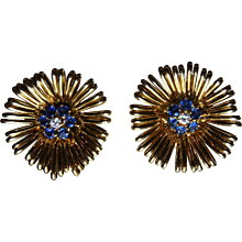 1950's Sapphire, Diamond & 18K Yellow Gold Flower Motif Earrings