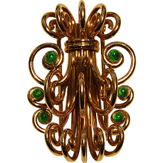 Signed Mellerio 18K Yellow Gold & Emerald Retro Period Fantasy Brooch