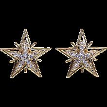Diamond & 18K Yellow Gold Star Earrings