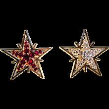 Diamond, Ruby & 18K Yellow Gold Star Earrings