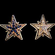 Diamond, Sapphire & 18K Yellow Gold Star Earrings