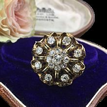 Antique Diamond Brooch In 14K Gold With Rich Enamel Work 3.38cttw