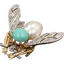 Pearl, Turquoise & Diamond Art Deco Bee Brooch in 18K Gold Circa 1918