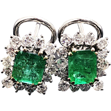 Superb Emerald Earrings in 18k With Diamond Halo 4.10cttw