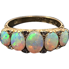 Exceptional 18k Opal and Diamond Half Band Hallmarked for 1876