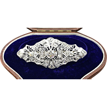 Incredible, Quintessential Large Art Deco Platinum Brooch Boasting 3.35cttw Diamonds with the center Diamond Being 1.25ct!