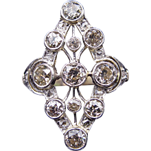 Exceptional 1870's Dinner Ring Featuring 1.80cttw Of Champagne Diamonds