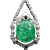 Immaculate Art Deco Diamond and Carved Emerald Necklace In Solid Platinum