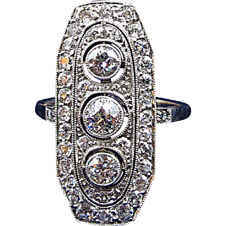 Massive Art Deco Plaque Ring with Over Two Carats of Diamonds Circa 1920