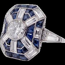 Singular Art Deco Platinum Diamond and Sapphire Ring With 1.08ct Central Diamond