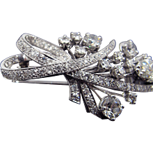 French Late Art Deco Platinum Brooch Featuring 8.25Cttw Of Diamonds