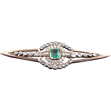 Belle Epoque Emerald And Diamond Brooch 4cttw C. 1895